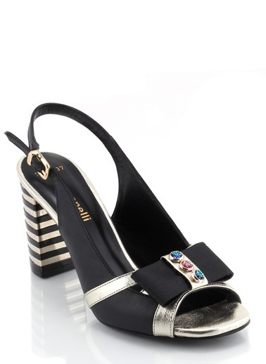 Poletto Kalın Topuklu Sandalet Siyah